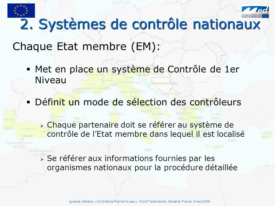2. Systèmes de contrôle nationaux Chaque Etat membre (EM): Met en place un système de Contrôle de 1er Niveau Définit un mode de sélection des contrôle