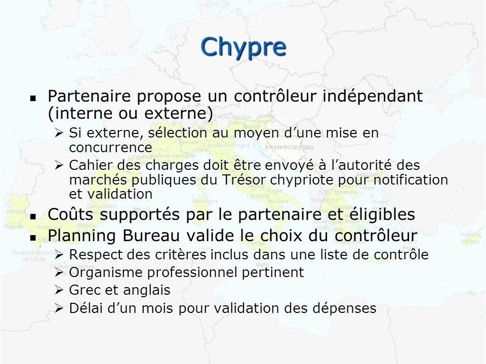 Chypre Partenaire propose un contrôleur indépendant (interne ou externe) Partenaire propose un contrôleur indépendant (interne ou externe) Si externe,
