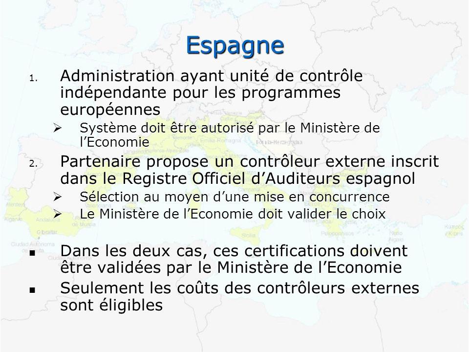 Espagne 1. Administration ayant unité de contrôle indépendante pour les programmes européennes Système doit être autorisé par le Ministère de lEconomi