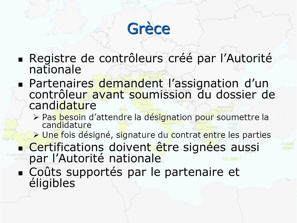 Grèce Registre de contrôleurs créé par lAutorité nationale Registre de contrôleurs créé par lAutorité nationale Partenaires demandent lassignation dun