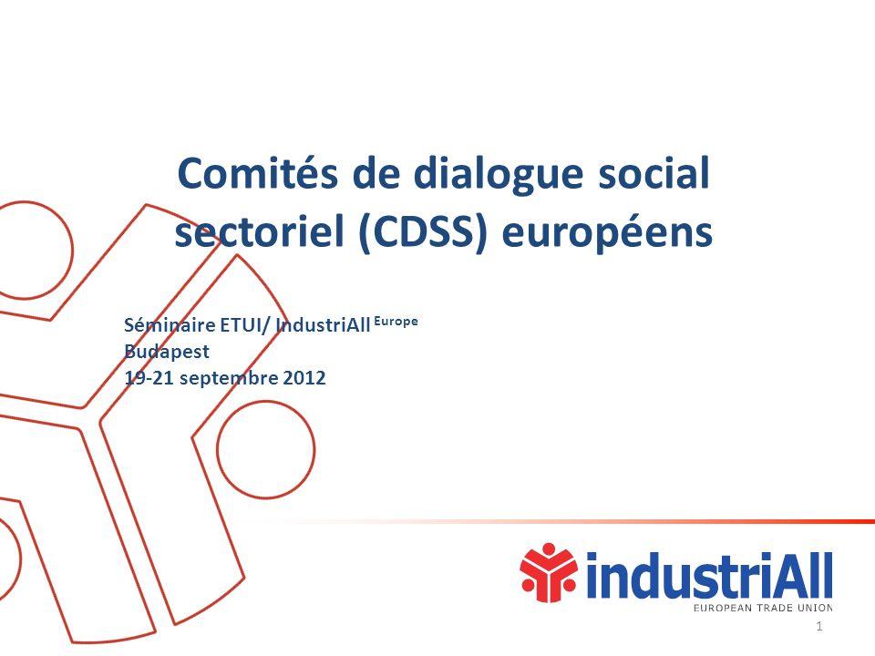 Comitésde dialogue social sectoriel (CDSS) européens Séminaire ETUI/ IndustriAll Europe Budapest 19-21 septembre 2012 1