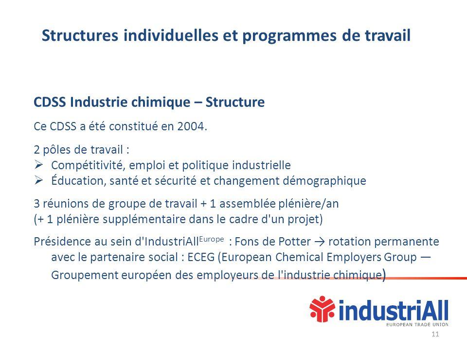 Structures individuelles et programmes de travail CDSS Industrie chimique – Structure Ce CDSS a été constitué en 2004. 2 pôles de travail : Compétitiv