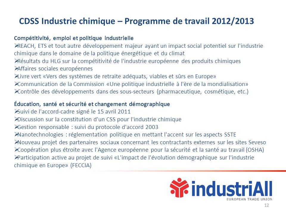 Compétitivité, emploi et politique industrielle REACH, ETS et tout autre développement majeur ayant un impact social potentiel sur l'industrie chimiqu