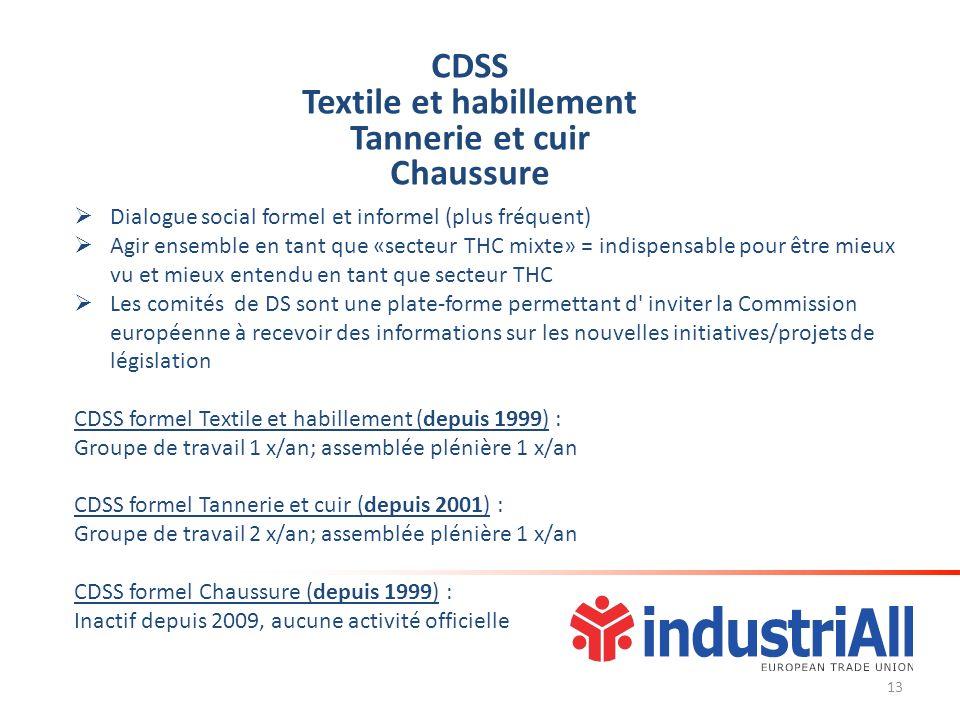 CDSS Textile et habillement Tannerie et cuir Chaussure Dialogue social formel et informel (plus fréquent) Agir ensemble en tant que «secteur THC mixte