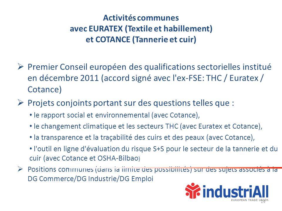 Activités communes avec EURATEX (Textile et habillement) et COTANCE (Tannerie et cuir) Premier Conseil européen des qualifications sectorielles institué en décembre 2011 (accord signé avec l ex-FSE: THC / Euratex / Cotance) Projets conjoints portant sur des questions telles que : le rapport social et environnemental (avec Cotance), le changement climatique et les secteurs THC (avec Euratex et Cotance), la transparence et la traçabilité des cuirs et des peaux (avec Cotance), l outil en ligne d évaluation du risque S+S pour le secteur de la tannerie et du cuir (avec Cotance et OSHA-Bilbao ) Positions communes (dans la limite des possibilités) sur des sujets associés à la DG Commerce/DG Industrie/DG Emploi 14