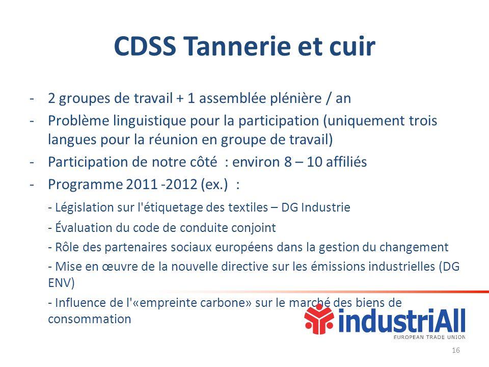 CDSS Tannerie et cuir -2 groupes de travail + 1 assemblée plénière / an -Problème linguistique pour la participation (uniquement trois langues pour la réunion en groupe de travail) -Participation de notre côté : environ 8 – 10 affiliés -Programme 2011 -2012 (ex.) : - Législation sur l étiquetage des textiles – DG Industrie - Évaluation du code de conduite conjoint - Rôle des partenaires sociaux européens dans la gestion du changement - Mise en œuvre de la nouvelle directive sur les émissions industrielles (DG ENV) - Influence de l «empreinte carbone» sur le marché des biens de consommation 16