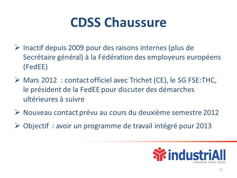 CDSS Chaussure Inactif depuis 2009 pour des raisons internes (plus de Secrétaire général) à la Fédération des employeurs européens (FedEE) Mars 2012 :