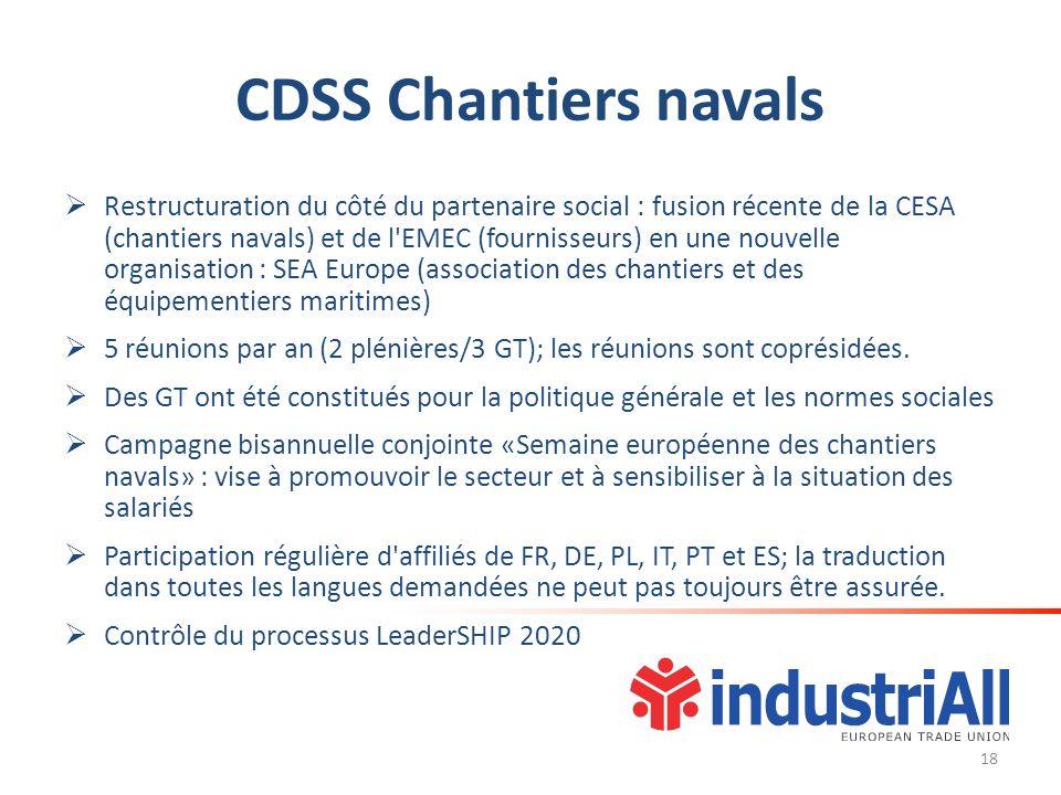 CDSS Chantiers navals Restructuration du côté du partenaire social : fusion récente de la CESA (chantiers navals) et de l EMEC (fournisseurs) en une nouvelle organisation : SEA Europe (association des chantiers et des équipementiers maritimes) 5 réunions par an (2 plénières/3 GT); les réunions sont coprésidées.