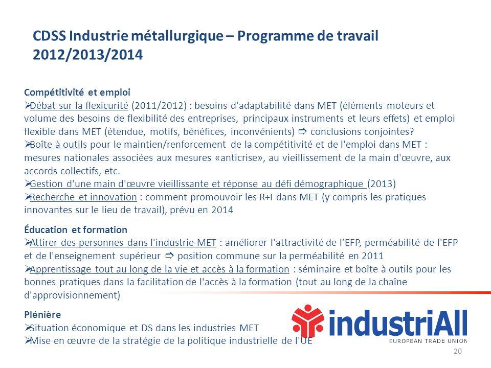 Compétitivité et emploi Débat sur la flexicurité (2011/2012) : besoins d'adaptabilité dans MET (éléments moteurs et volume des besoins de flexibilité