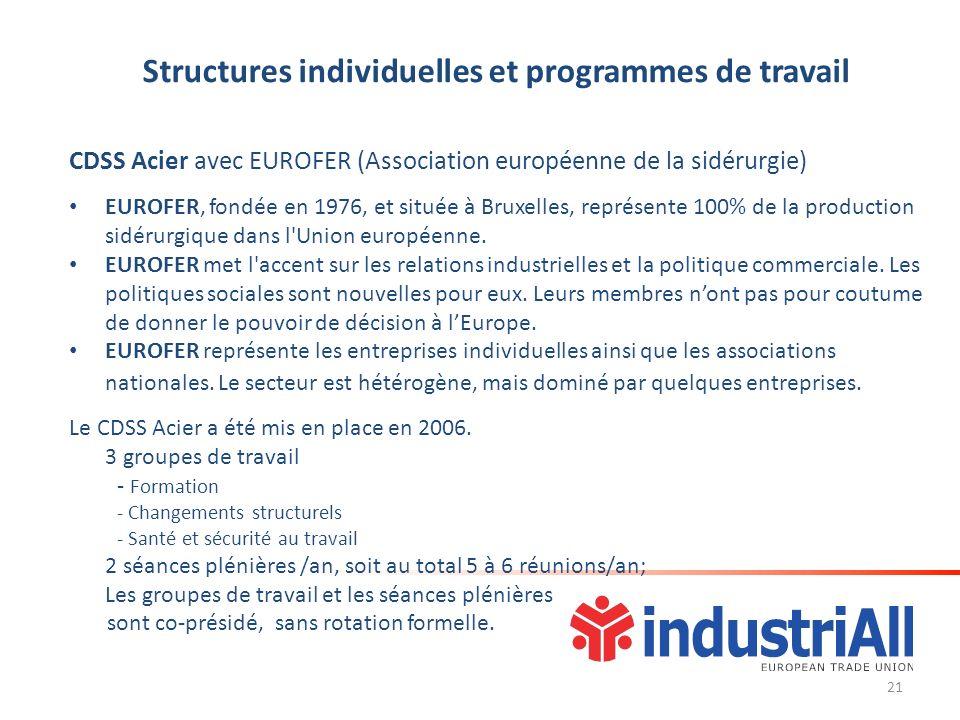 Structures individuelles et programmes de travail CDSS Acier avec EUROFER (Association européenne de la sidérurgie) EUROFER, fondée en 1976, et située à Bruxelles, représente 100% de la production sidérurgique dans l Union européenne.
