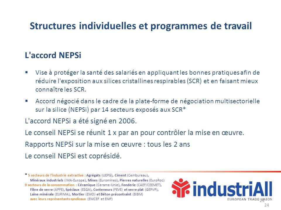 24 Structures individuelles et programmes de travail L accord NEPSi Vise à protéger la santé des salariés en appliquant les bonnes pratiques afin de réduire l exposition aux silices cristallines respirables (SCR) et en faisant mieux connaître les SCR.