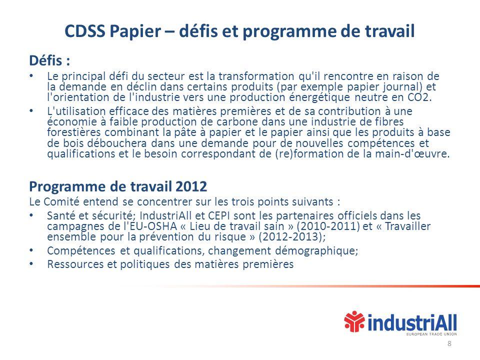 CDSS Papier – défis et programme de travail Défis : Le principal défi du secteur est la transformation qu'il rencontre en raison de la demande en décl