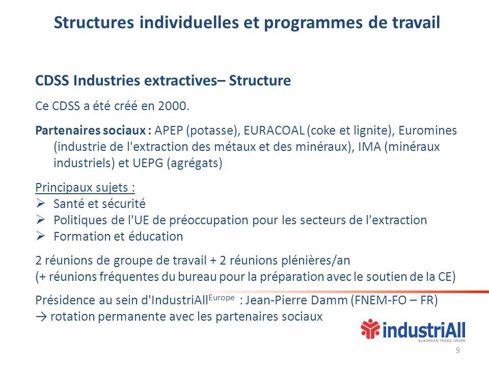 Structures individuelles et programmes de travail CDSS Industries extractives– Structure Ce CDSS a été créé en 2000. Partenaires sociaux : APEP (potas