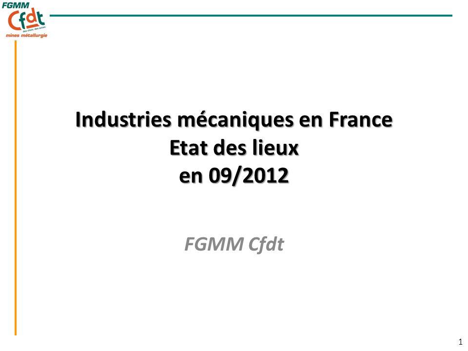 1 1 Industries mécaniques en France Etat des lieux en 09/2012 FGMM Cfdt
