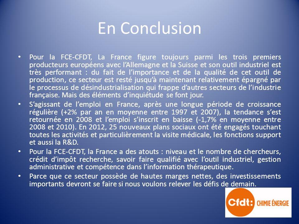 En Conclusion Pour la FCE-CFDT, La France figure toujours parmi les trois premiers producteurs européens avec lAllemagne et la Suisse et son outil industriel est très performant : du fait de limportance et de la qualité de cet outil de production, ce secteur est resté jusquà maintenant relativement épargné par le processus de désindustrialisation qui frappe dautres secteurs de lindustrie française.