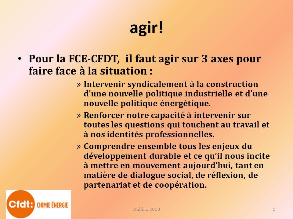 agir! Pour la FCE-CFDT, il faut agir sur 3 axes pour faire face à la situation : » Intervenir syndicalement à la construction dune nouvelle politique