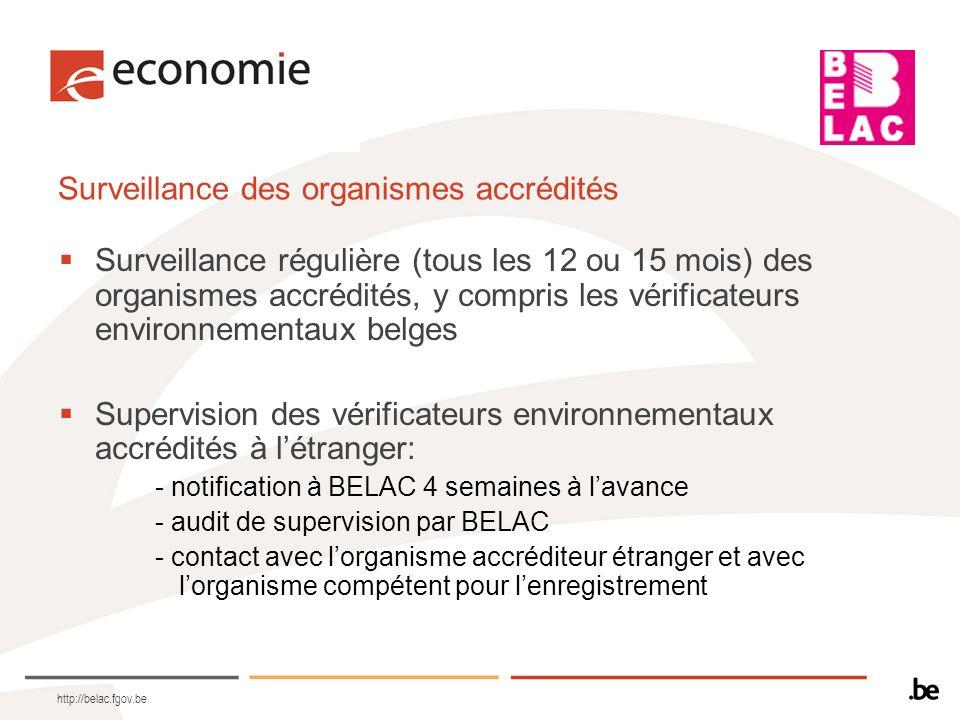 http://belac.fgov.be Surveillance des organismes accrédités Surveillance régulière (tous les 12 ou 15 mois) des organismes accrédités, y compris les v