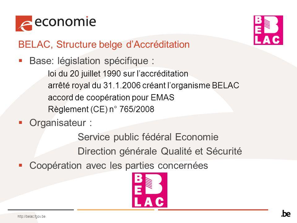 http://belac.fgov.be BELAC, Structure belge dAccréditation Base: législation spécifique : loi du 20 juillet 1990 sur laccréditation arrêté royal du 31