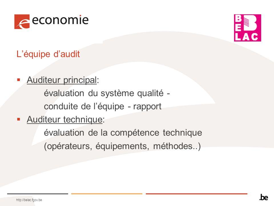 http://belac.fgov.be Léquipe daudit Auditeur principal: évaluation du système qualité - conduite de léquipe - rapport Auditeur technique: évaluation d