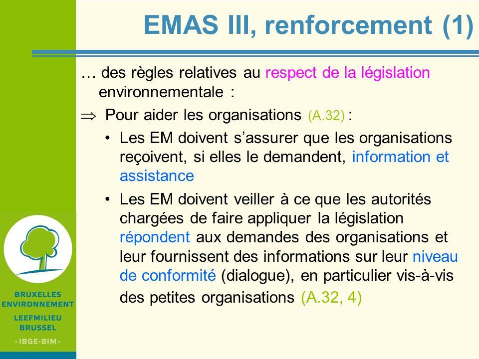 IBGE - BIM EMAS III, renforcement (1) … des règles relatives au respect de la législation environnementale : Pour aider les organisations (A.32) : Les