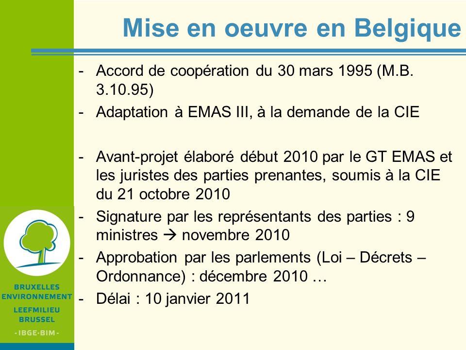 IBGE - BIM Mise en oeuvre en Belgique -Accord de coopération du 30 mars 1995 (M.B. 3.10.95) -Adaptation à EMAS III, à la demande de la CIE -Avant-proj