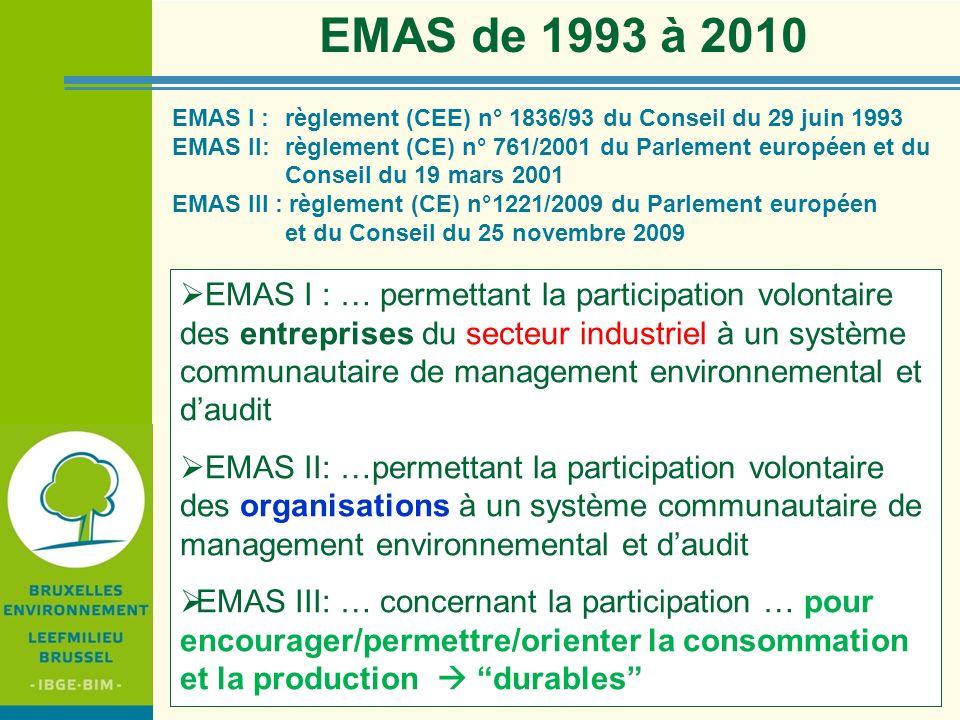 IBGE - BIM EMAS I : règlement (CEE) n° 1836/93 du Conseil du 29 juin 1993 EMAS II: règlement (CE) n° 761/2001 du Parlement européen et du Conseil du 1