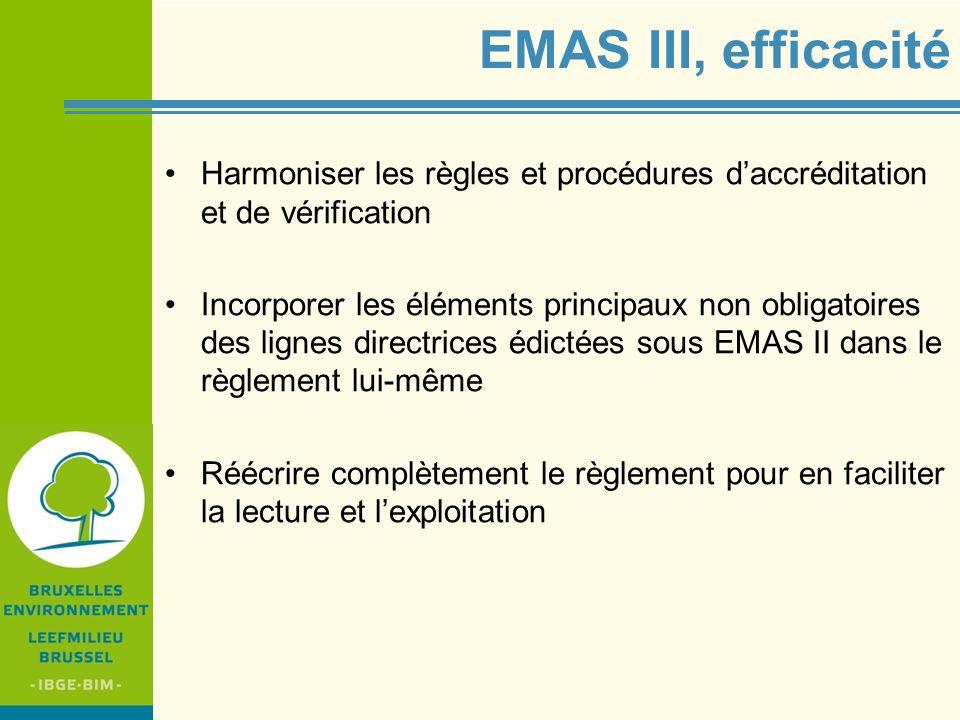 IBGE - BIM EMAS III, efficacité Harmoniser les règles et procédures daccréditation et de vérification Incorporer les éléments principaux non obligatoi
