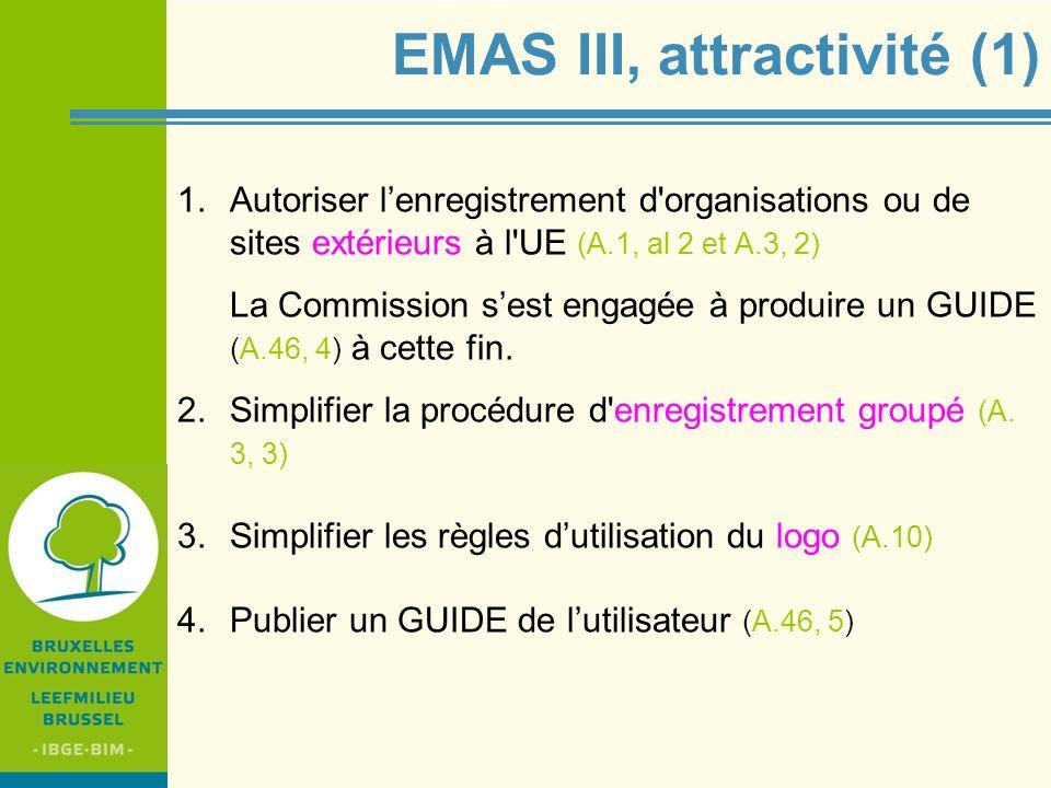 IBGE - BIM EMAS III, attractivité (2) 4.Diminuer la charge administrative : Communiquer la déclaration environnementale tous les 3 ans … avec mise à jour (éventuelle) et rapport (obligatoire) sur les performances à communiquer tous les ans (A.6 et 7) pour les petites organisations et sous conditions, la fréquence passe à 4 et 2 ans Prendre en compte des caractéristiques spécifiques pour la vérification et la validation des petites organisations (A.