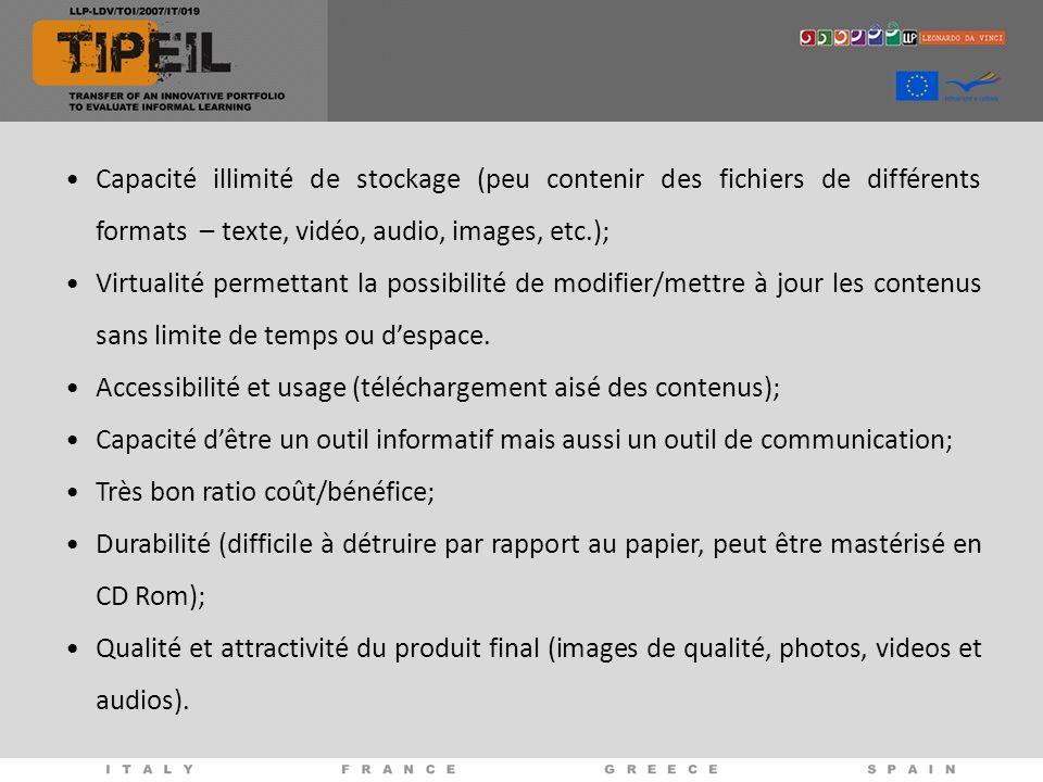 Capacité illimité de stockage (peu contenir des fichiers de différents formats – texte, vidéo, audio, images, etc.); Virtualité permettant la possibilité de modifier/mettre à jour les contenus sans limite de temps ou despace.