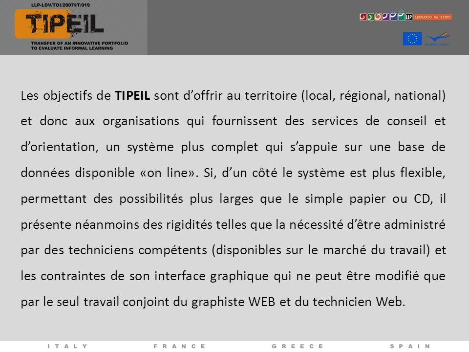 Les objectifs de TIPEIL sont doffrir au territoire (local, régional, national) et donc aux organisations qui fournissent des services de conseil et dorientation, un système plus complet qui sappuie sur une base de données disponible «on line».