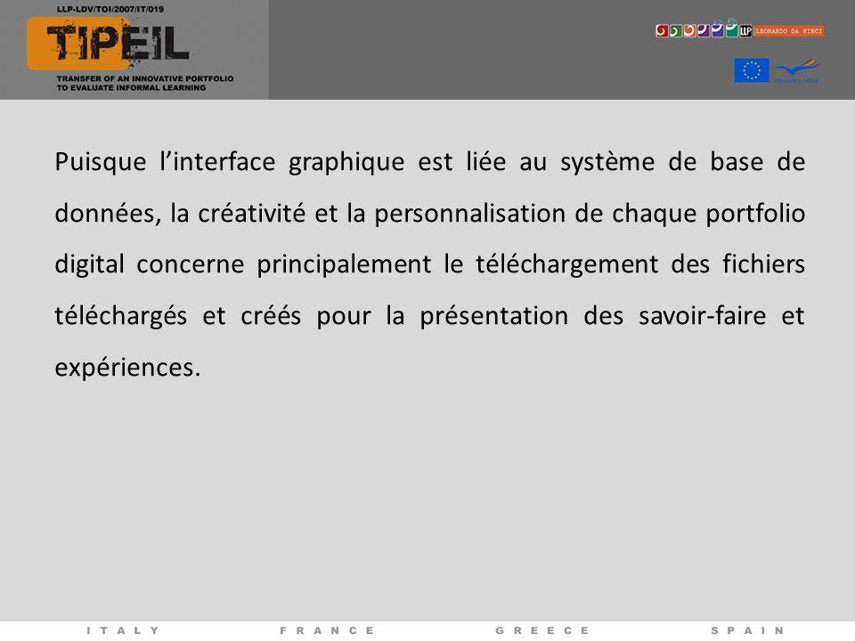 Puisque linterface graphique est liée au système de base de données, la créativité et la personnalisation de chaque portfolio digital concerne principalement le téléchargement des fichiers téléchargés et créés pour la présentation des savoir-faire et expériences.