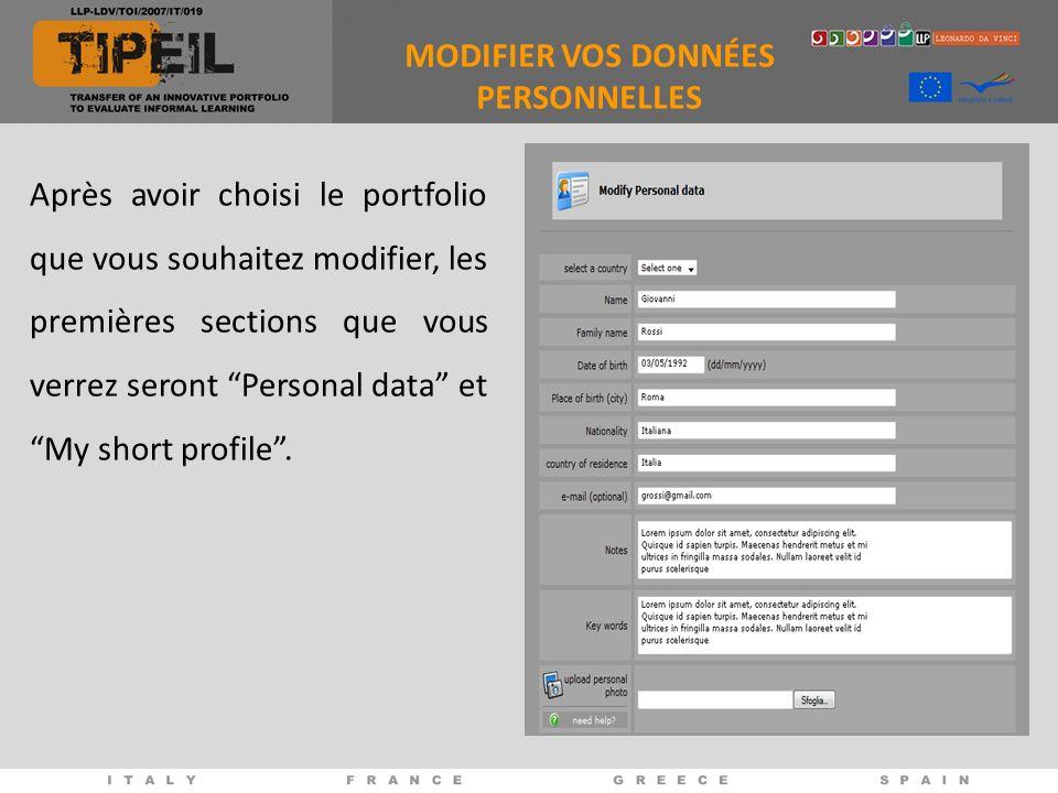 Après avoir choisi le portfolio que vous souhaitez modifier, les premières sections que vous verrez seront Personal data et My short profile.
