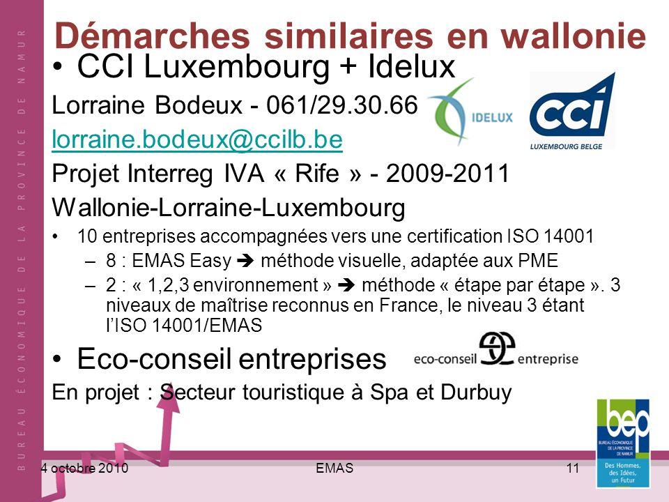 EMAS114 octobre 2010 Démarches similaires en wallonie CCI Luxembourg + Idelux Lorraine Bodeux - 061/29.30.66 lorraine.bodeux@ccilb.be Projet Interreg IVA « Rife » - 2009-2011 Wallonie-Lorraine-Luxembourg 10 entreprises accompagnées vers une certification ISO 14001 –8 : EMAS Easy méthode visuelle, adaptée aux PME –2 : « 1,2,3 environnement » méthode « étape par étape ».