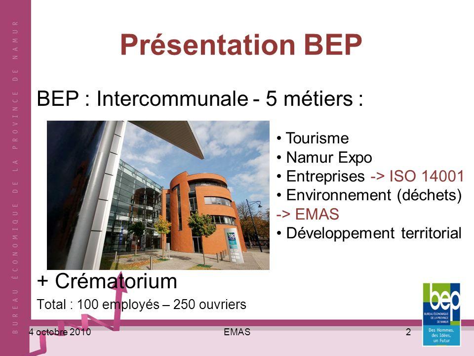 EMAS24 octobre 2010 Présentation BEP BEP : Intercommunale - 5 métiers : + Crématorium Total : 100 employés – 250 ouvriers Tourisme Namur Expo Entrepri