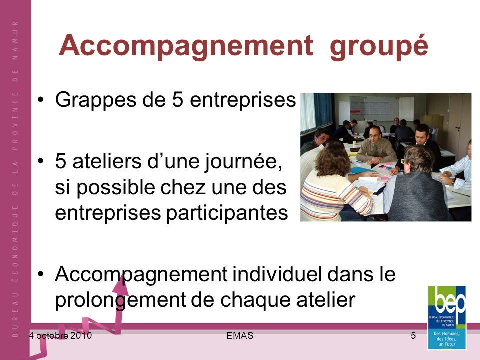 EMAS54 octobre 2010 Accompagnement groupé Grappes de 5 entreprises 5 ateliers dune journée, si possible chez une des entreprises participantes Accompagnement individuel dans le prolongement de chaque atelier