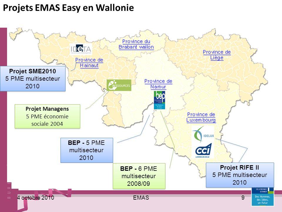 EMAS104 octobre 2010 Démarches similaires en wallonie Managens 5 PME économie sociale en 2004 Ideta Yann Ducatteeuw – 069/53.27.24 ducatteeuw@ideta.be 5 entreprises accompagnées