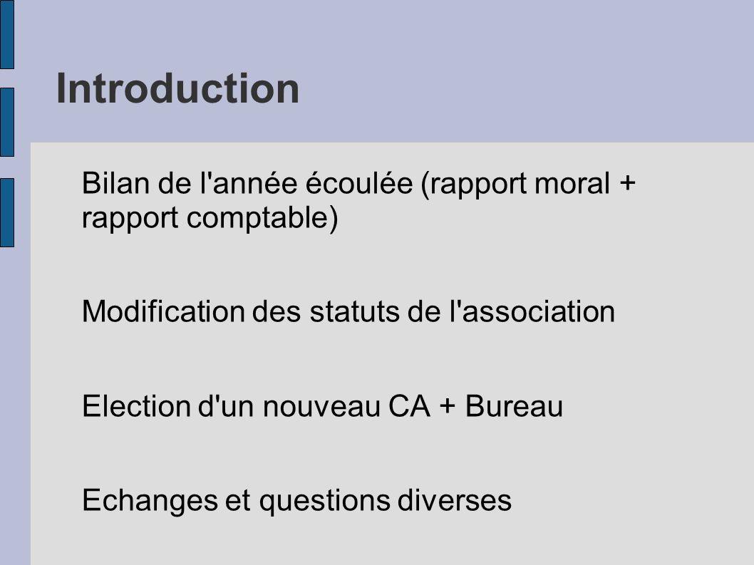 Introduction Bilan de l année écoulée (rapport moral + rapport comptable) Modification des statuts de l association Election d un nouveau CA + Bureau Echanges et questions diverses