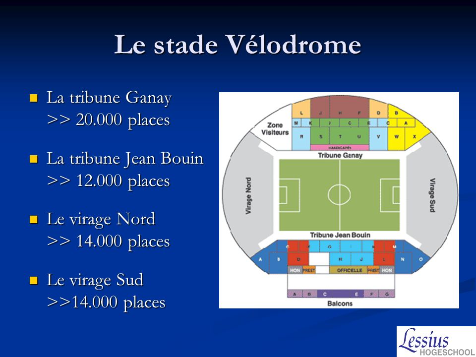 Le stade Vélodrome La tribune Ganay >> 20.000 places La tribune Ganay >> 20.000 places La tribune Jean Bouin >> 12.000 places La tribune Jean Bouin >>