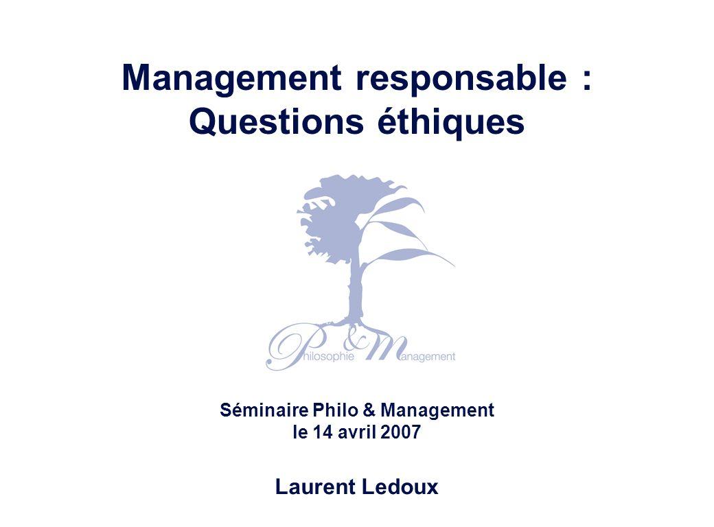 Management responsable : questions éthiques – Laurent Ledoux – 14/04/07 22 Source: Marvin Brown (1990) Processus de réflexion éthique et ses ressources Principes Convictions de base Observations Proposition Points de vue contradictoires