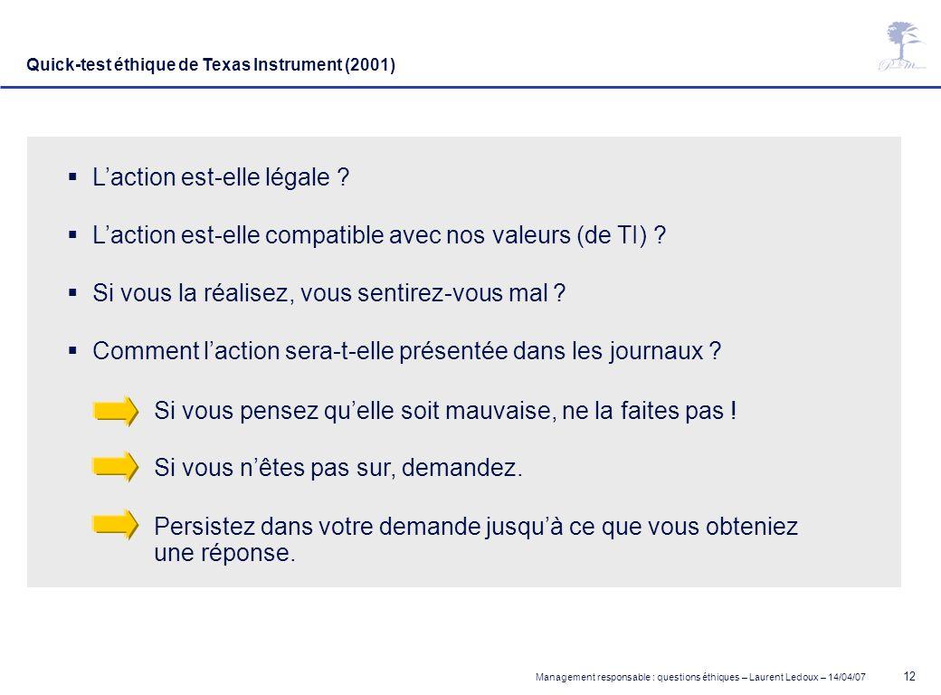 Management responsable : questions éthiques – Laurent Ledoux – 14/04/07 12 Quick-test éthique de Texas Instrument (2001) Laction est-elle légale ? Lac