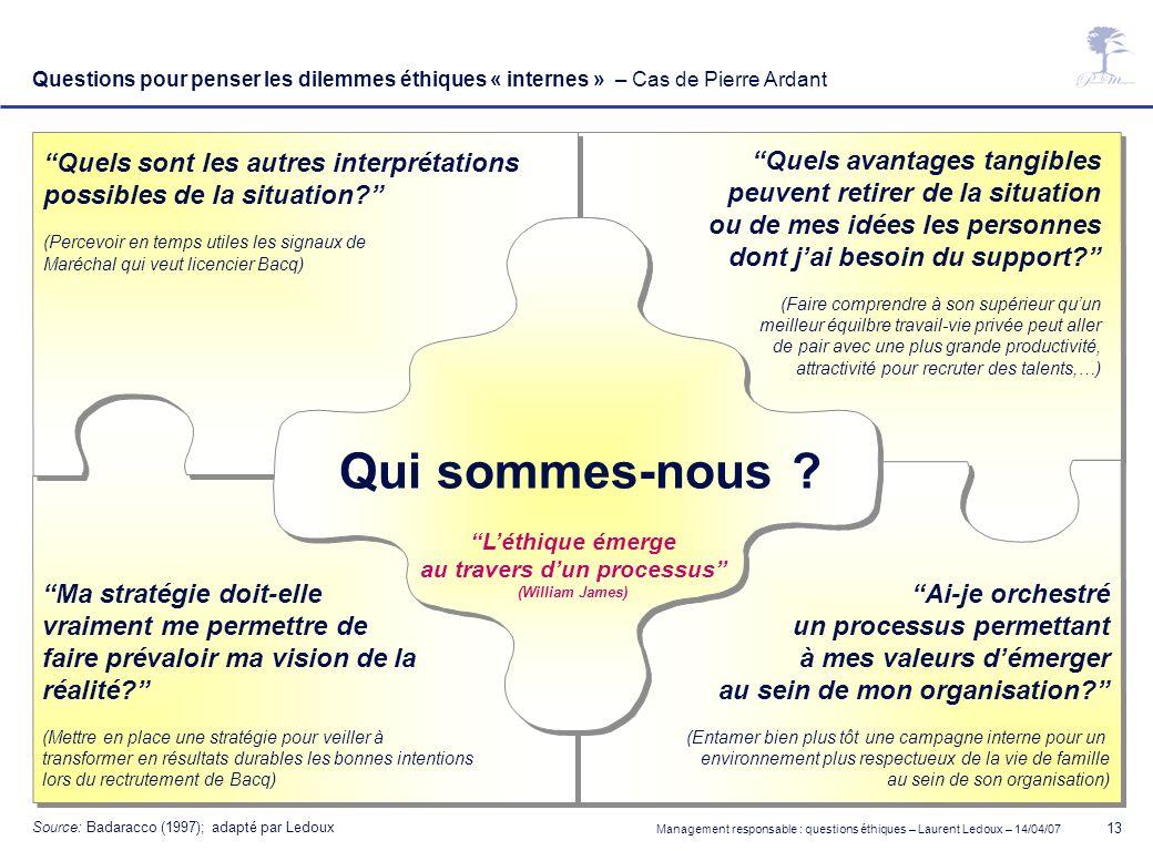 Management responsable : questions éthiques – Laurent Ledoux – 14/04/07 13 Questions pour penser les dilemmes éthiques « internes » – Cas de Pierre Ar