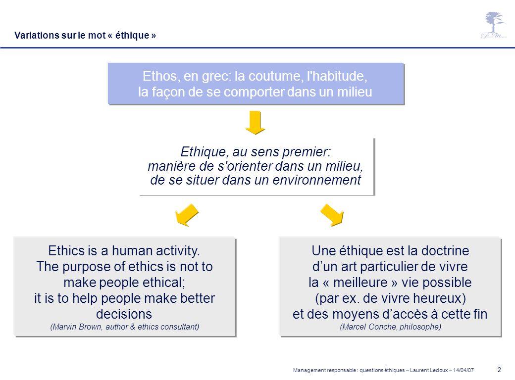 Management responsable : questions éthiques – Laurent Ledoux – 14/04/07 2 Une éthique est la doctrine dun art particulier de vivre la « meilleure » vi