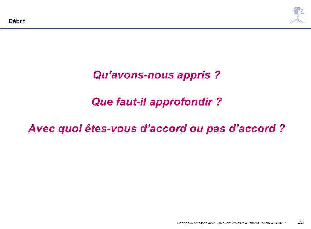 Management responsable : questions éthiques – Laurent Ledoux – 14/04/07 44 Débat Quavons-nous appris ? Que faut-il approfondir ? Avec quoi êtes-vous d