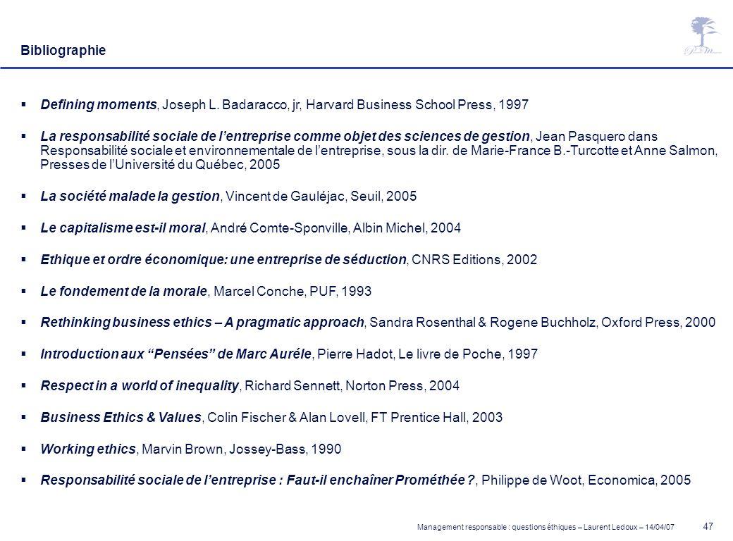 Management responsable : questions éthiques – Laurent Ledoux – 14/04/07 47 Bibliographie Defining moments, Joseph L. Badaracco, jr, Harvard Business S