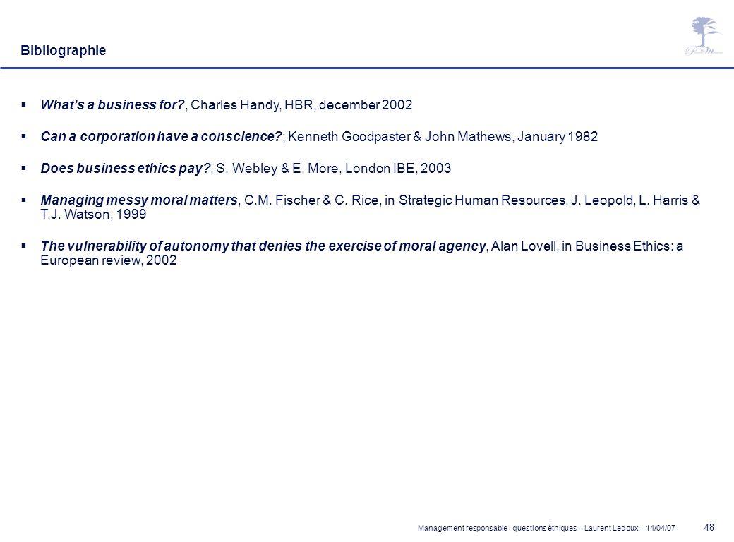 Management responsable : questions éthiques – Laurent Ledoux – 14/04/07 48 Bibliographie Whats a business for?, Charles Handy, HBR, december 2002 Can