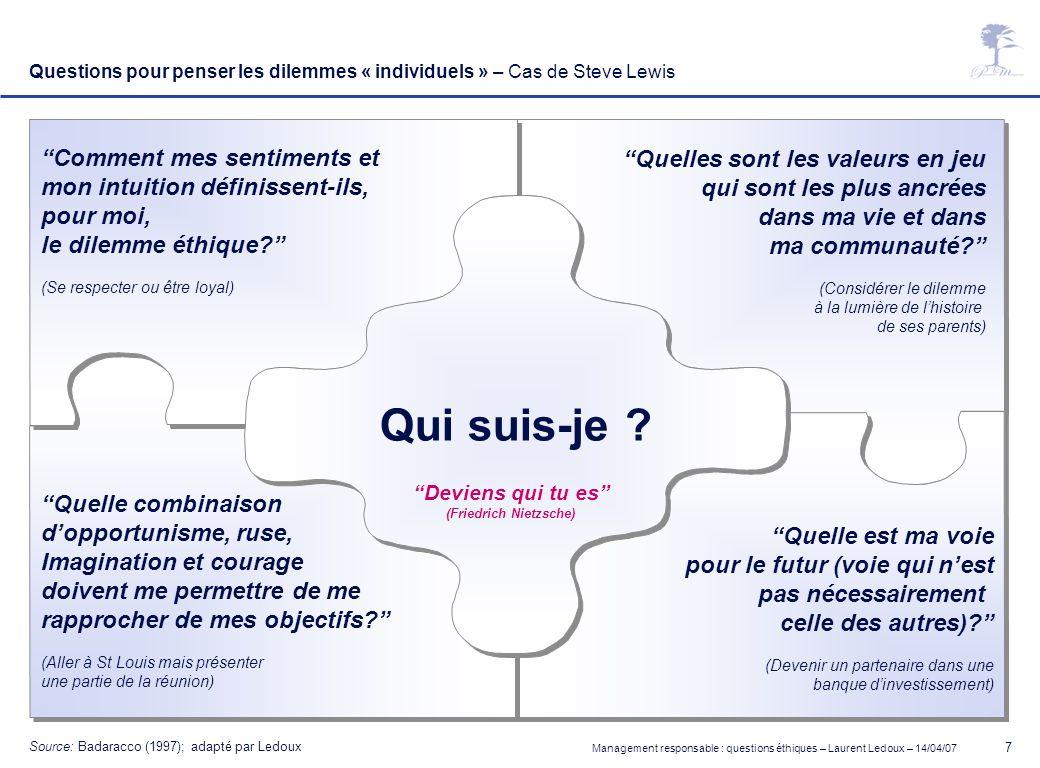 Management responsable : questions éthiques – Laurent Ledoux – 14/04/07 7 Questions pour penser les dilemmes « individuels » – Cas de Steve Lewis Devi