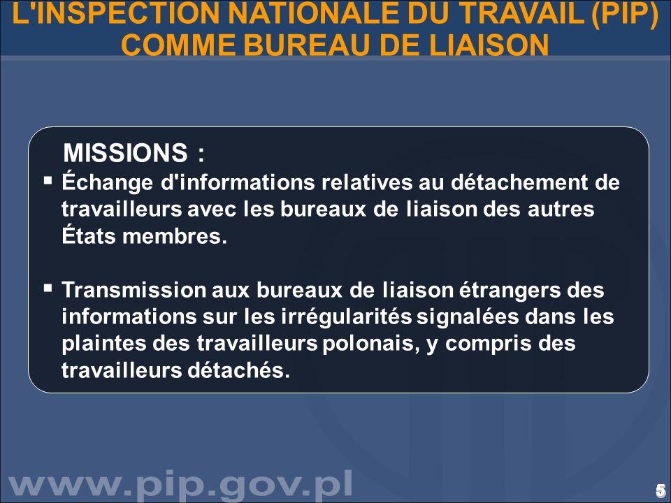 5555555555555555555555555555 L'INSPECTION NATIONALE DU TRAVAIL (PIP) COMME BUREAU DE LIAISON MISSIONS : Échange d'informations relatives au détachemen
