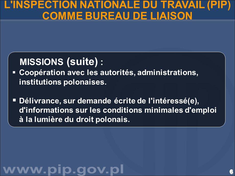 6666666666666666666666666666 L'INSPECTION NATIONALE DU TRAVAIL (PIP) COMME BUREAU DE LIAISON MISSIONS (suite) : Coopération avec les autorités, admini
