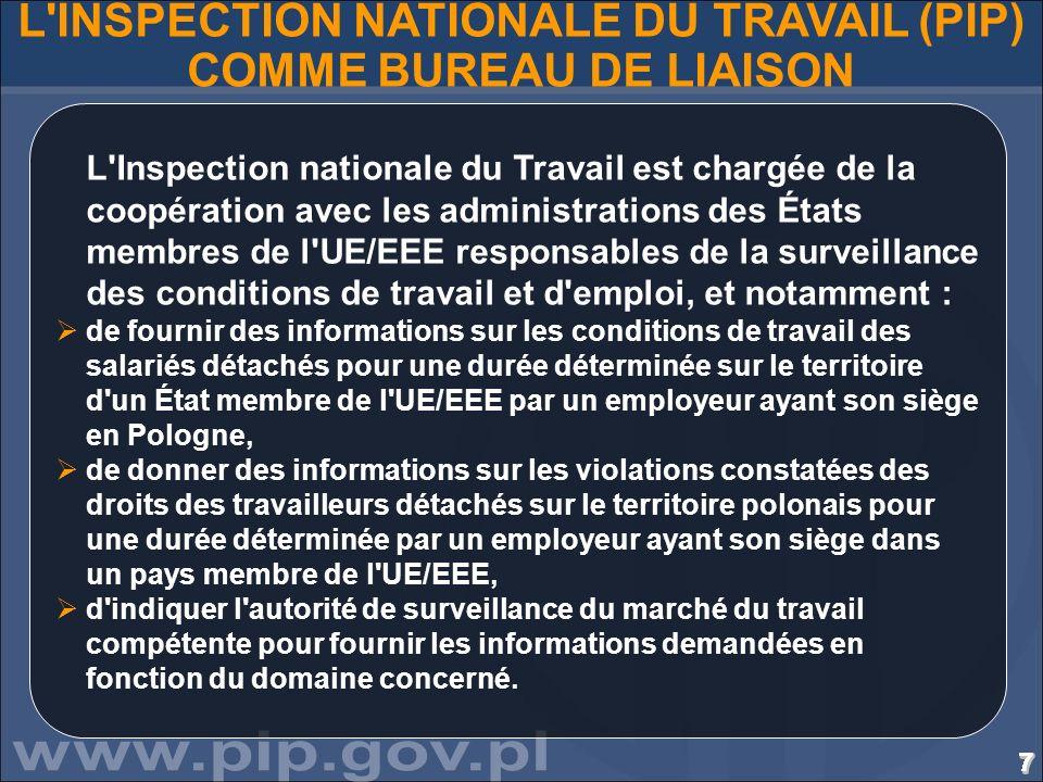 7777777777777777777777777777 L'INSPECTION NATIONALE DU TRAVAIL (PIP) COMME BUREAU DE LIAISON L'Inspection nationale du Travail est chargée de la coopé