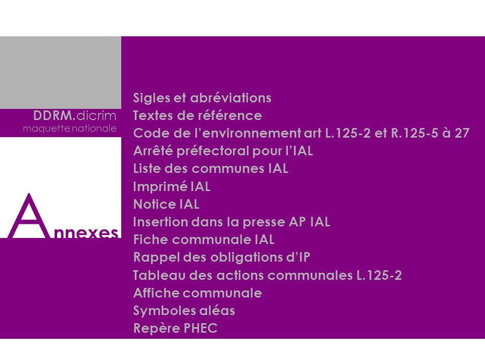 DDRM. dicrim maquette nationale Sigles et abréviations Textes de référence Code de lenvironnement art L.125-2 et R.125-5 à 27 Arrêté préfectoral pour